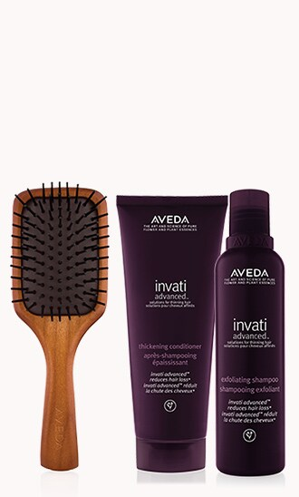 Mini Paddle Brush & Invati Shampoo & Conditioner